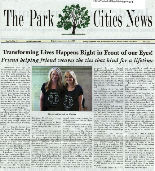 The Park Cities News - THANK YOU MARJ WATERS!